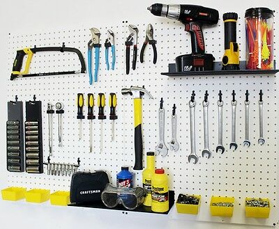 Wallpeg Pegboard Panels Shelves Bins Locking Peg Hooks For Tool Storage 48 W