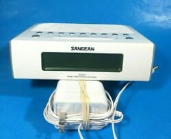 ✰Sangean RCR-5 Digital Alarm Clock Radio w/ Adapter- ~6.5 X 5.5- FM/AM - White✰