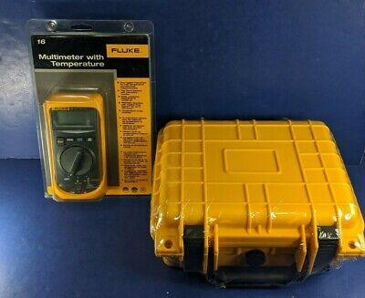 New Fluke 16 Multimeter With Temperature Hard Case Original Packaging