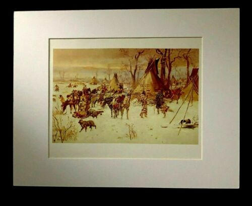 """Charles M Russell """"Indian Hunters Return"""" 11 x 14 Matted Western Print"""