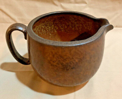 Hammered Brown Glaze Ceramic Pitcher by Gunnar Nyland for Rorstrand Sweden 1950s