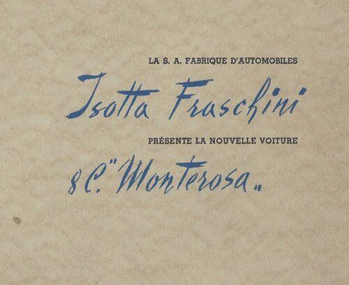 ISOTTA FRASCHINI MONTEROSA 1948 COLOR CATALOG RARE- 3-6 CARS BUILT RAPI 60pages