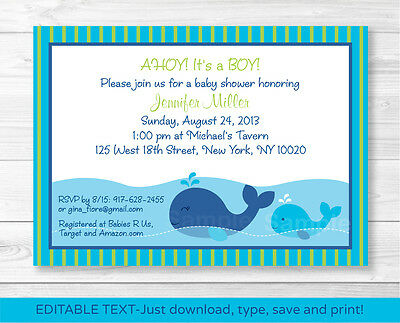 Lil Blue Whale AHOY! Its a Boy! Printable Baby Shower Invitation Editable PDF
