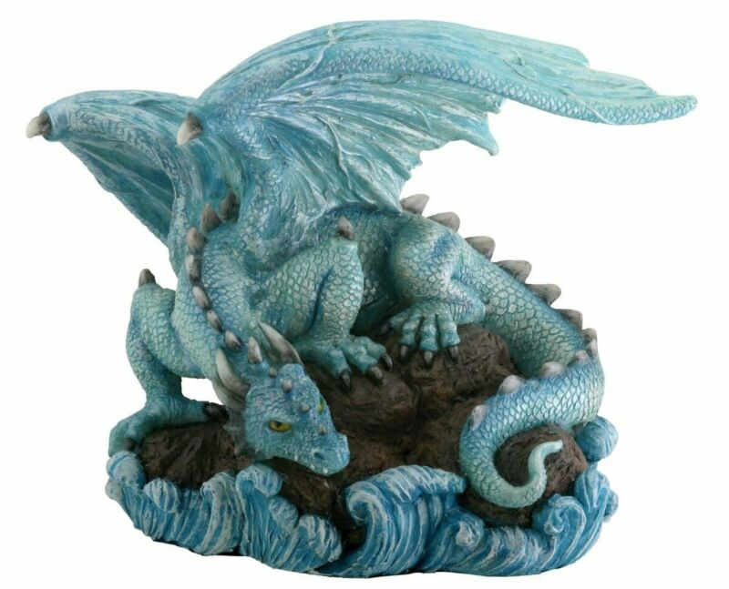 Blue Water Dragon on Rock Figurine Medieval Mythical Fantasy Creature Decoration