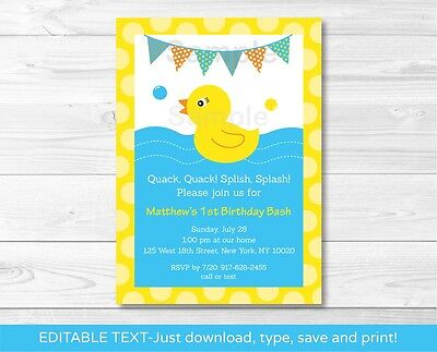 Rubber Duck Printable Birthday Invitation Editable PDF](Rubber Duck Invitations)