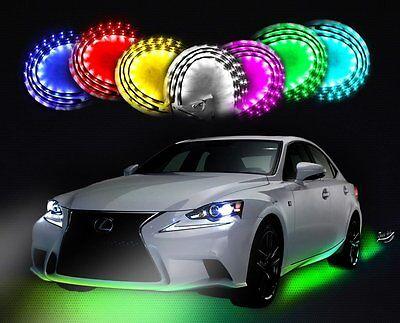 Zento Deals 7 Color LED Undercar Glow System Neon Light Kit Under Cabinet (Led Undercar Light Kit)