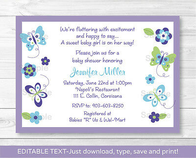 Butterfly Paradise Lavender Printable Baby Shower Invitation Editable PDF