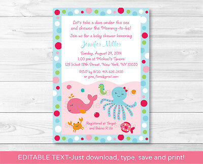 Pink Under the Sea Nautical Printable Baby Shower Invitation Editable - Under The Sea Baby Shower Invites