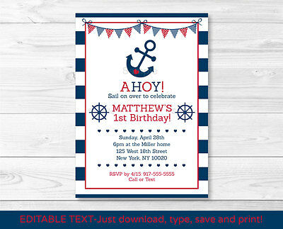 Nautical Anchor Printable Birthday Invitation Navy Blue & Red Editable PDF](Nautical Birthday Invitations)
