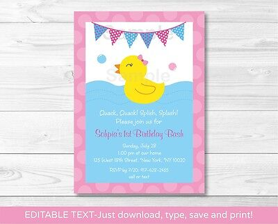 Pink Rubber Duck Printable Birthday Invitation Editable PDF](Rubber Duck Invitations)