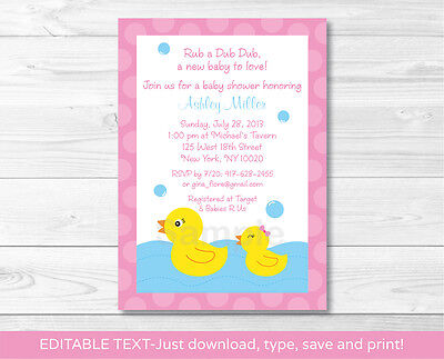 Pink Rubber Duck Printable Baby Shower Invitation Editable PDF](Rubber Duck Baby Shower Invitation)