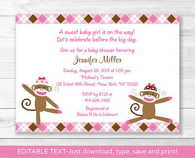 Sock Monkey Invitations (Pink Sock Monkey Printable Baby Shower Invitation Editable)