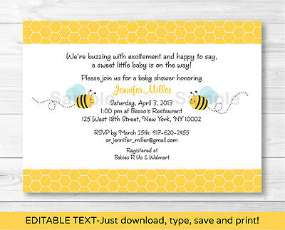 Sweet Little Bumble Bee Printable Baby Shower Invitation Editable PDF - Bumble Bee Invitations