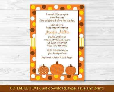 Lil Pumpkin Autumn Printable Baby Shower Invitation Editable PDF](Pumpkin Baby Shower Invitations)