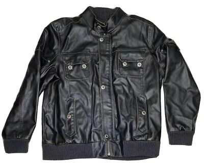 Mens Guess Leather Jacket Vintage Retro Size XXL Distressed Style Black Large