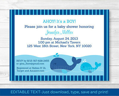 Lil Whale AHOY! Its a Boy! Baby Shower Invitation Editable PDF