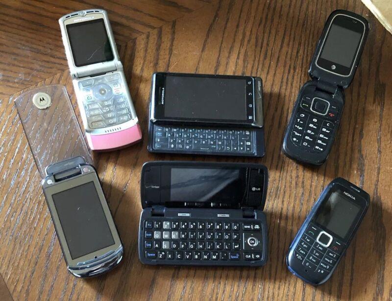 Cell Phone Mix Lot of 6 Flip Camera Phone PARTS REPAIR Motorola Droid LG NOKIA