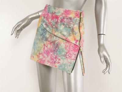 HOUSE OF HOLLAND Womens Multi-Color Tie-Dye Leather Zipper Mini Skirt 6-8 NEW