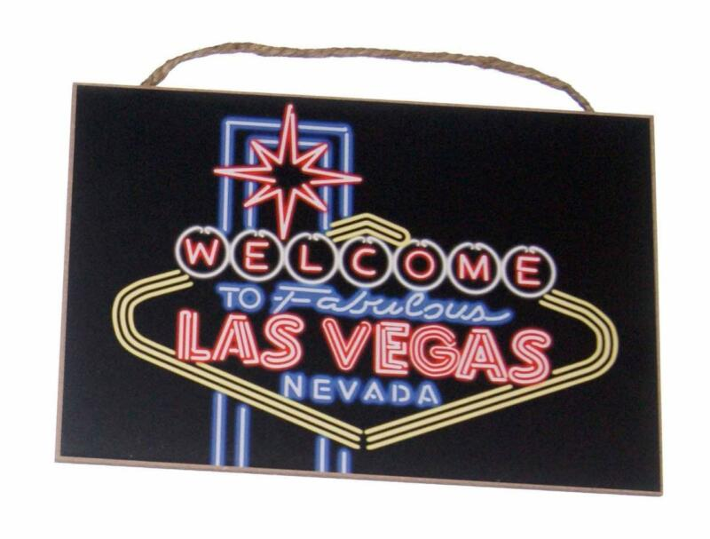 """Welcome to Fabulous Las Vegas Nevada 7""""x 10 1/2"""" Wood Sign for Bar Den Cave"""