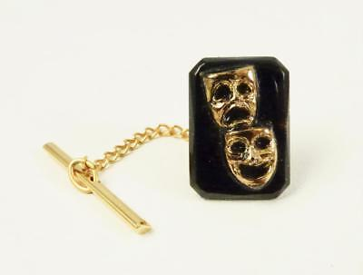Comedy & Tragedy Masks Black Onyx Tie Tack Or Lapel Pin