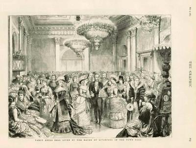 1883 - Antique Print LIVERPOOL Mayor Town Hall Fancy Dress Ball Costumes  (101)