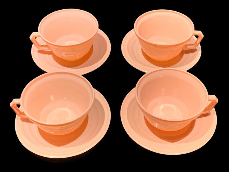 4 Vintage Hazel Atlas MODERNTONE PLATONITE PASTEL PINK CUPS & SAUCERS