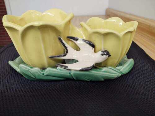 McCoy pottery planter with swallow and tri yellow tulips, 1940