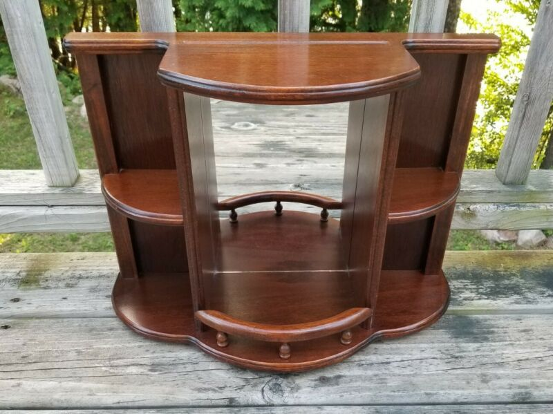 VTG Wood/Mirror CURIO/DISPLAY SHELF Tabletop or Wall Plates/Cups/Collectibles