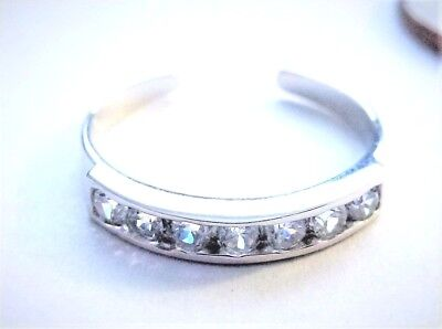 10KT PURE SOLID WHITE GOLD ADJUSTABLE CUBIC ZIRCONIA TOE RING! Cubic Zirconia White Gold Toe Ring