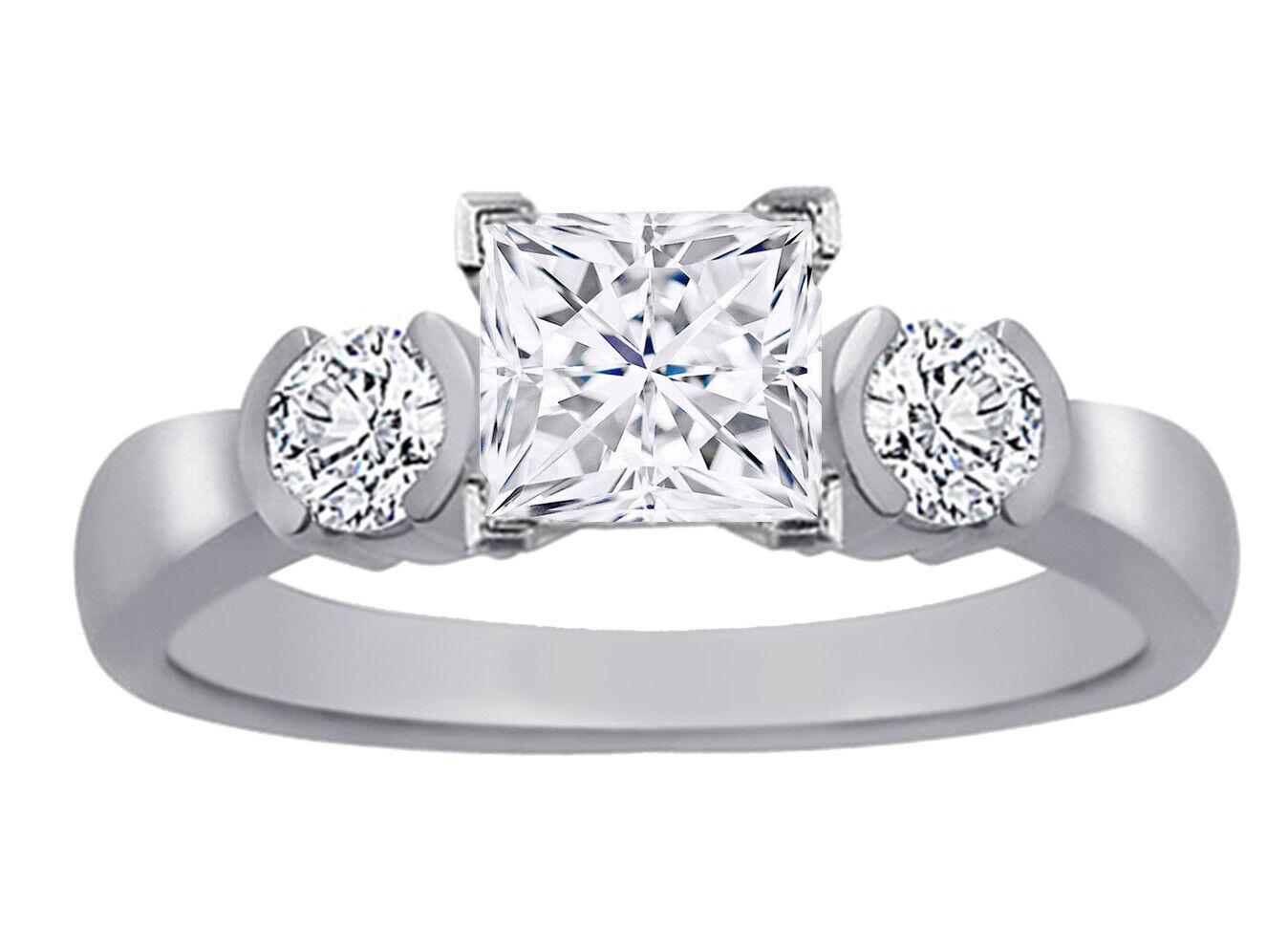 GIA Certified Diamond Engagement Ring 1.30 CTW Princess & Round 18k Gold