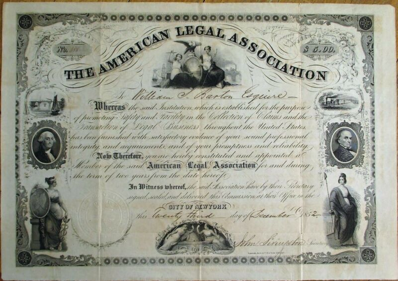 American Legal Association SUPER 1852 Certificate w/8 Vignettes - Law/Lawyer