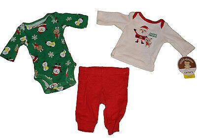 Baby Boy's Carter's Christmas 3 Pc. Set Red & Green Santa Snowman Outfit (Boy Red Green)