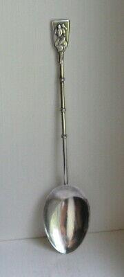 Vintage 950 Sterling Silver Asian Geisha Girl Bamboo Handle Spoon