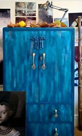 Refurbished quirky 1920's armoire/wardrobe/cupboard watercolour effect fronts