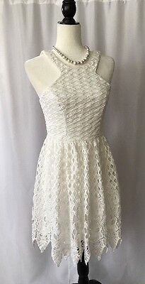 City Studio Sundress Casual Party Cocktail Mini Dress Eyelet Lace Womens Size 5