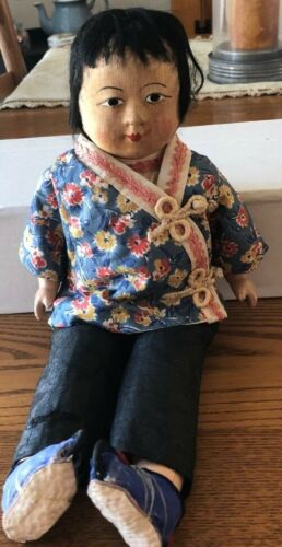 """Vintage 14"""" Chinese Cloth and Composition Doll - 1930s"""