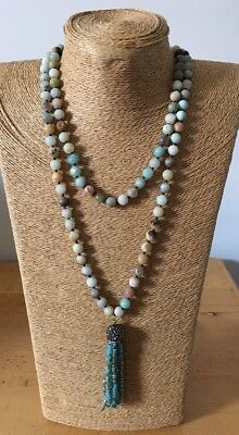 (Fashion gemstone long knot Amazonite beads Necklace crystal tassel woman jewelry)
