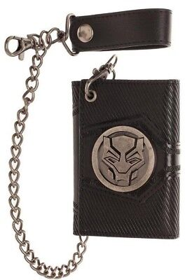 THE BLACK PANTHER LOGO METAL TRI-FOLD FAUX LEATHER CHAIN WALLET MARVEL COMICS