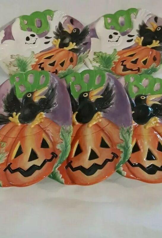 Plates x 5 Jack-O-Lantern Fitz and Floyd Halloween