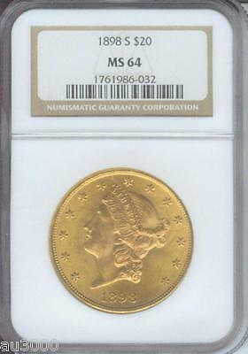 1898 S $20 LIBERTY DOUBLE EAGLE NGC MS64 MS 64 STUNNING SAN FRANCISCO NEAR GEM