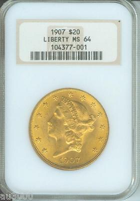 1907 $20 LIBERTY DOUBLE EAGLE NGC MS64 MS 64 OLD THICK HOLDER STUNNING P.Q.
