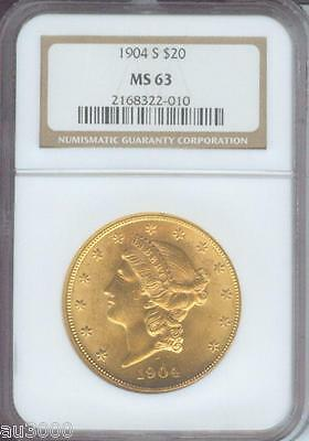 1904 S $20 LIBERTY DOUBLE EAGLE NGC MS63 MS 63 PREMIUM QUALITY