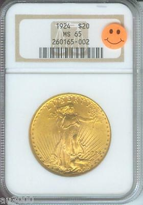 1924 $20 ST. GAUDENS DOUBLE EAGLE NGC MS65 SAINT MS 65 OLDER HOLDER  P.Q.