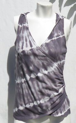 BALANCE COLLECTION Gray Tie Dye Stretch Cotton Hoodie Tee Shirt Top size S EUC