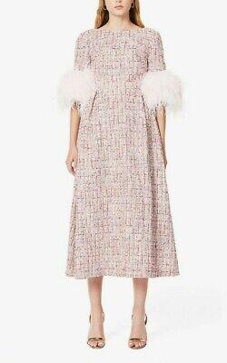 HUISHAN ZHANG Mariah Tweed-Print Feather-Trimmed Woven Midi Dress UK 8