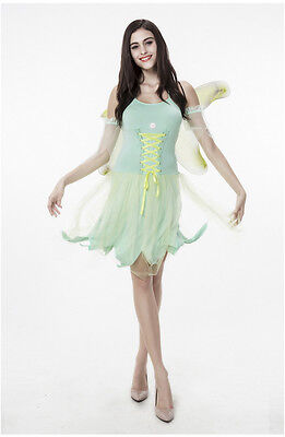 Tinker Bell Fairy Pixie Green Dress Up Cosplay Halloween Women Adult Costume (Costume Tinkerbell)