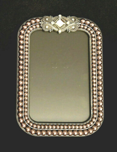 """Photo Picture Frame Rhinestone and Grey Faux Pearl Fits 6 x 4"""" Size Photo"""