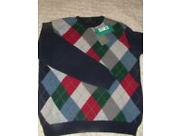 New & Tags M&S Collection Navy Blue Argyle Extra Fine Lambswool Jumper Medium