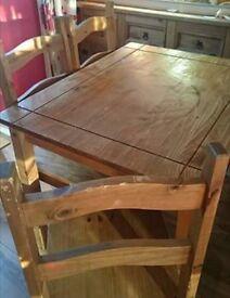 Corona pine table and chairs