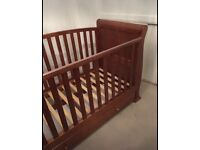 Solid wood sleigh style cot bed/toddler bed